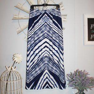 NWT Chico's Blue White Striped Maxi Skirt Size 0/4